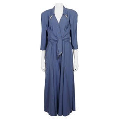Thierry Mugler Vintage Metal Appliques Blue Maxi Flowing Dress