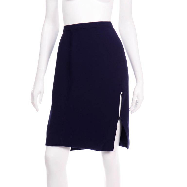 Thierry Mugler Vintage Navy Blue Skirt & Jacket Suit With Chain Detail For Sale 5