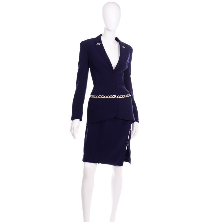 Black Thierry Mugler Vintage Navy Blue Skirt & Jacket Suit With Chain Detail For Sale