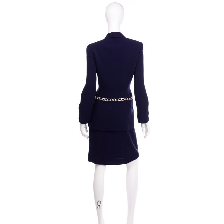 Thierry Mugler Vintage Navy Blue Skirt & Jacket Suit With Chain Detail In Excellent Condition For Sale In Portland, OR