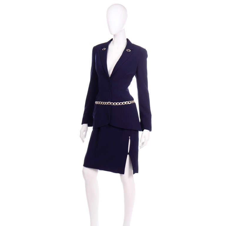 Women's Thierry Mugler Vintage Navy Blue Skirt & Jacket Suit With Chain Detail For Sale