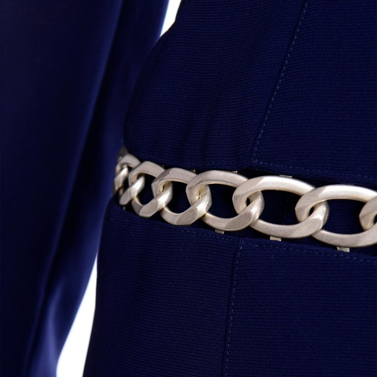 Thierry Mugler Vintage Navy Blue Skirt & Jacket Suit With Chain Detail For Sale 3