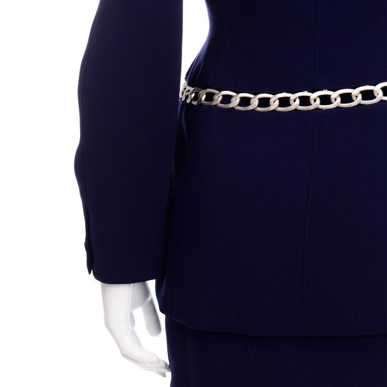Thierry Mugler Vintage Navy Blue Skirt & Jacket Suit With Chain Detail For Sale 4