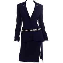 Thierry Mugler Vintage Navy Blue Skirt & Jacket Suit With Chain Detail