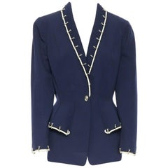 THIERRY MUGLER vintage navy blue wool rope chain shoulder pad peplum jacket FR42