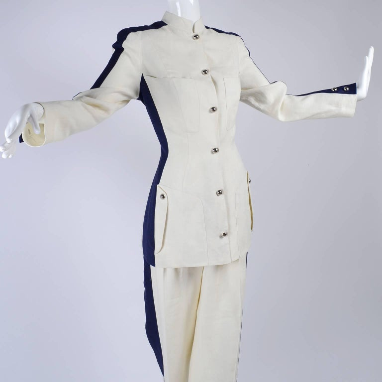 Gray Thierry Mugler Vintage Pants Suit W Side Stripes Jacket & High Waist Trousers For Sale