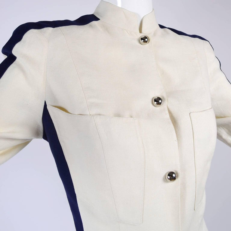 Thierry Mugler Vintage Pants Suit W Side Stripes Jacket & High Waist Trousers In Excellent Condition For Sale In Portland, OR