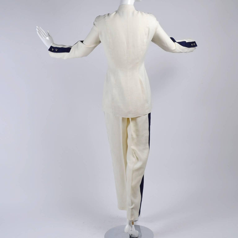 Women's Thierry Mugler Vintage Pants Suit W Side Stripes Jacket & High Waist Trousers For Sale