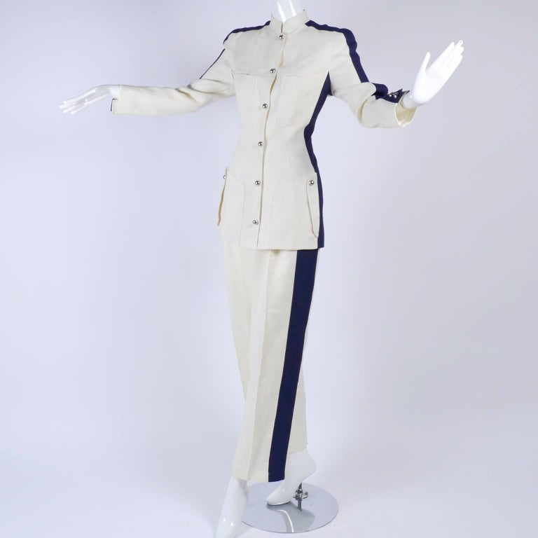 Thierry Mugler Vintage Pants Suit W Side Stripes Jacket & High Waist Trousers For Sale 2
