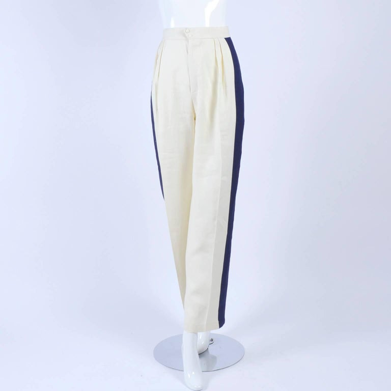 Thierry Mugler Vintage Pants Suit W Side Stripes Jacket & High Waist Trousers For Sale 4