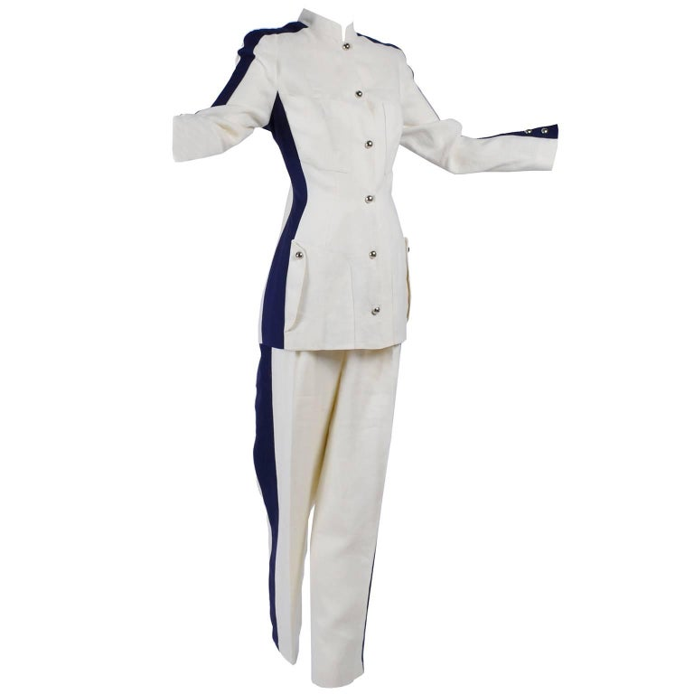 Thierry Mugler Vintage Pants Suit W Side Stripes Jacket & High Waist Trousers