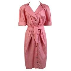 Thierry Mugler Vintage Pink Cotton Belted Shirt Dress Size 44