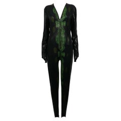 Thierry Mugler Vintage Rare 1998 Back and Green Reptile Skin Jumpsuit Size L