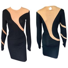 Thierry Mugler Vintage Semi-Sheer Panels Bodycon Black Dress
