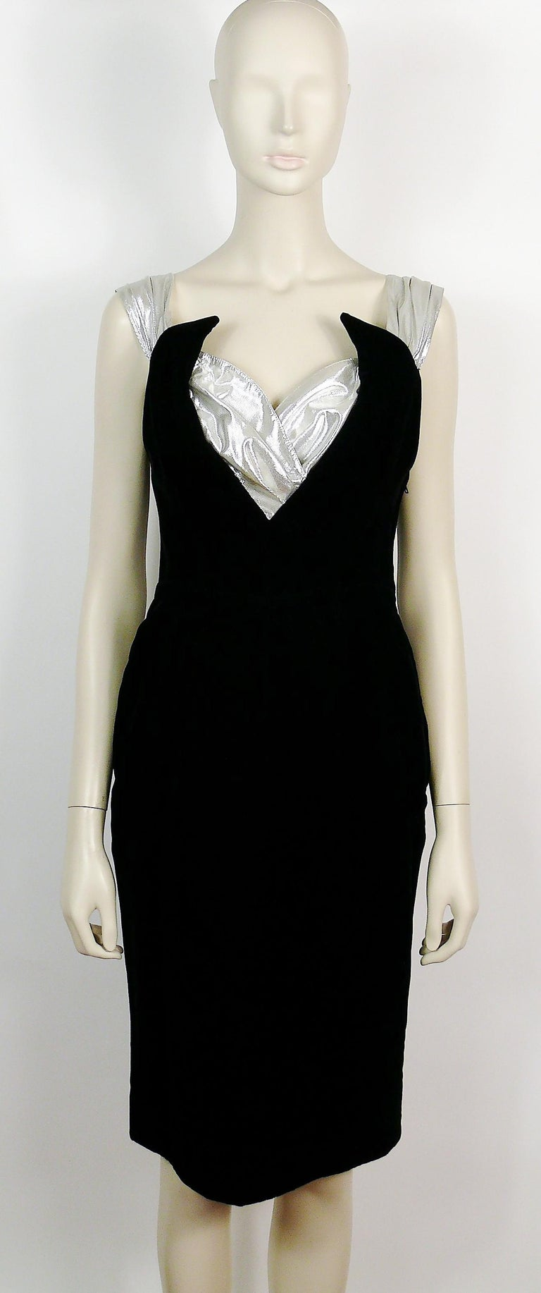 Vintage silver and black spaghetti strap dress with side bow