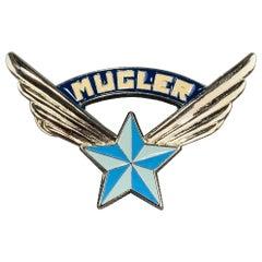 THIERRY MUGLER Vintage Silver Tone Metal Blue Star Logo Pin