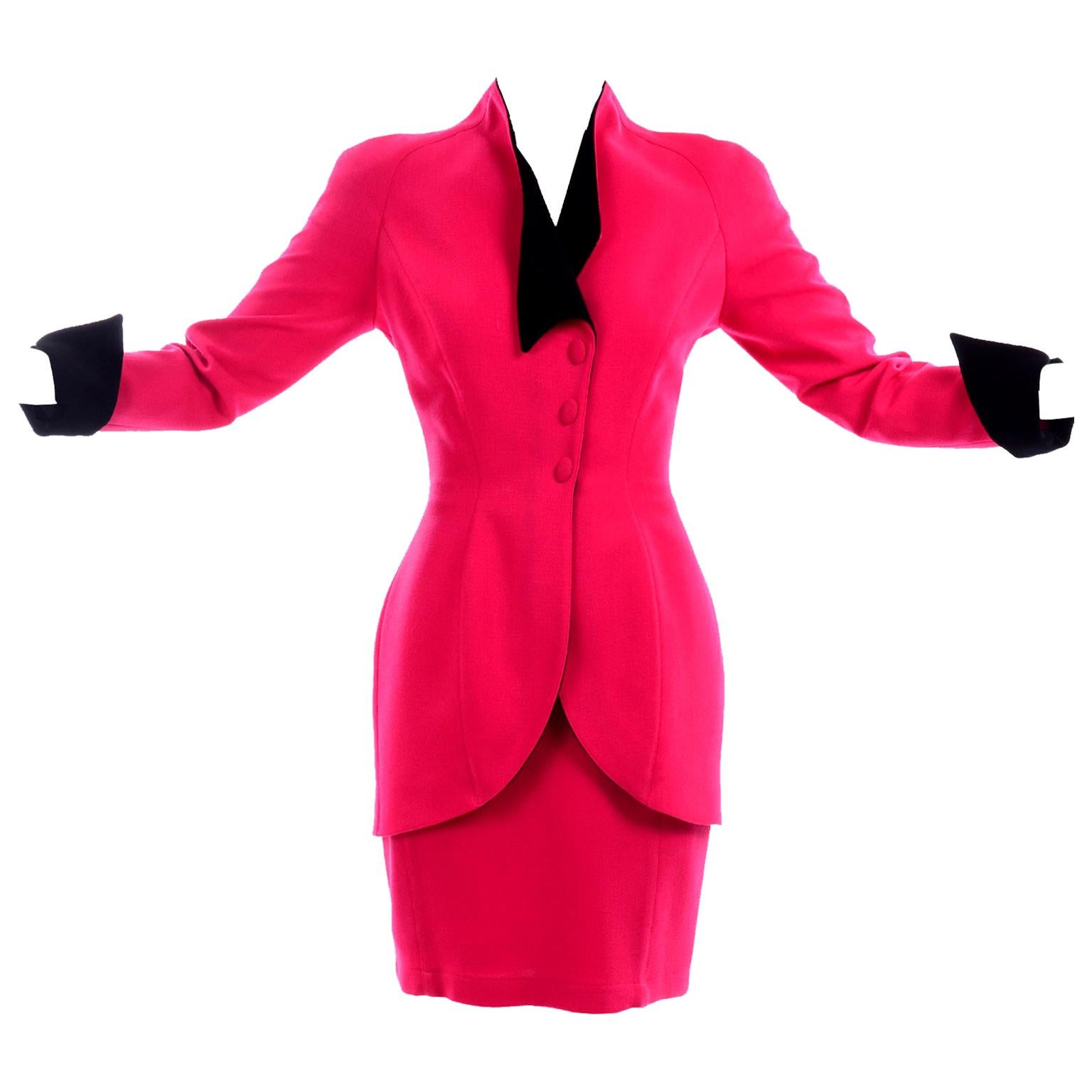 Thierry Mugler Vintage Strawberry Red Skirt & Blazer Suit w Black Velvet Trim