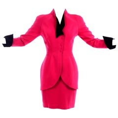 Thierry Mugler Vintage Strawberry Red Skirt & Blazer Suit w Black Velvet Trim