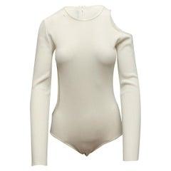 Thierry Mugler White Long Sleeve Cutout Bodysuit