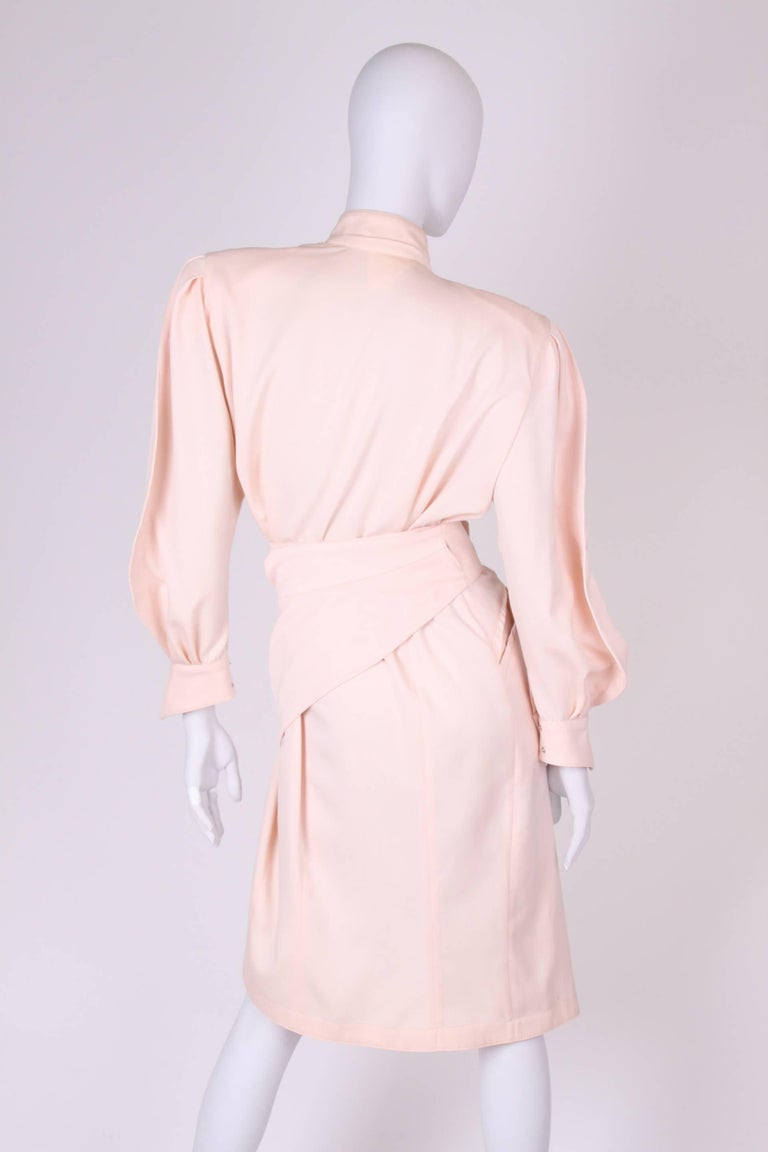 Thierry Mugler Wrap Dress - salmon pink In Excellent Condition For Sale In Baarn, NL