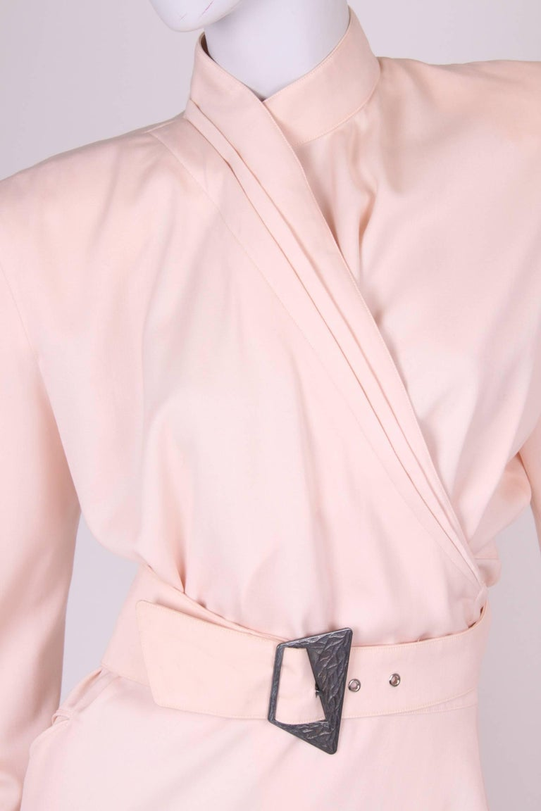 Thierry Mugler Wrap Dress - salmon pink For Sale 2
