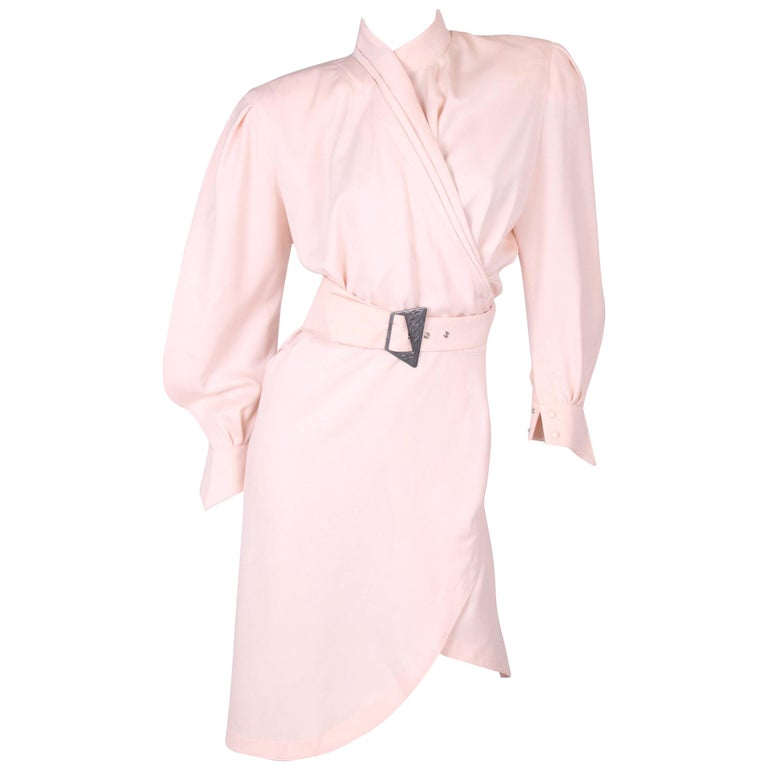Thierry Mugler Wrap Dress - salmon pink For Sale