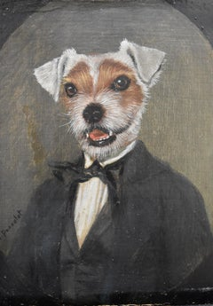 Thierry Poncelet (B. 1946) A young dog as a gentleman, oil on panel signed