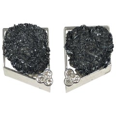 Thierry Vendome Large White Gold Diamond and Hematite Earrings