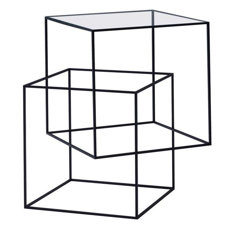 """""""Thin Black Table"""" Side Table by Nendo in Black Lacquered Metal with Glass Top For Sale"""