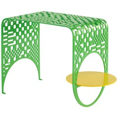 Thin Check Table in Contemporary Powder Coated Steel in White, Yellow, and Green