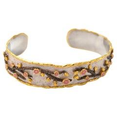 Victor Velyan Cherry Blossom Cuff in 24K Yellow Gold