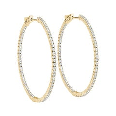 Thin In And Out Diamond Hoop Earring in 14 Karat Yellow Gold