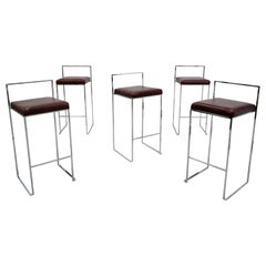 Thin Line Chrome and Leather Bar Stools by Milo Baughman