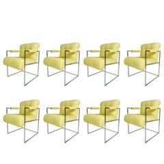 Thin Line Chrome Midcentury Armchairs by Milo Baughman 'Set of 8'