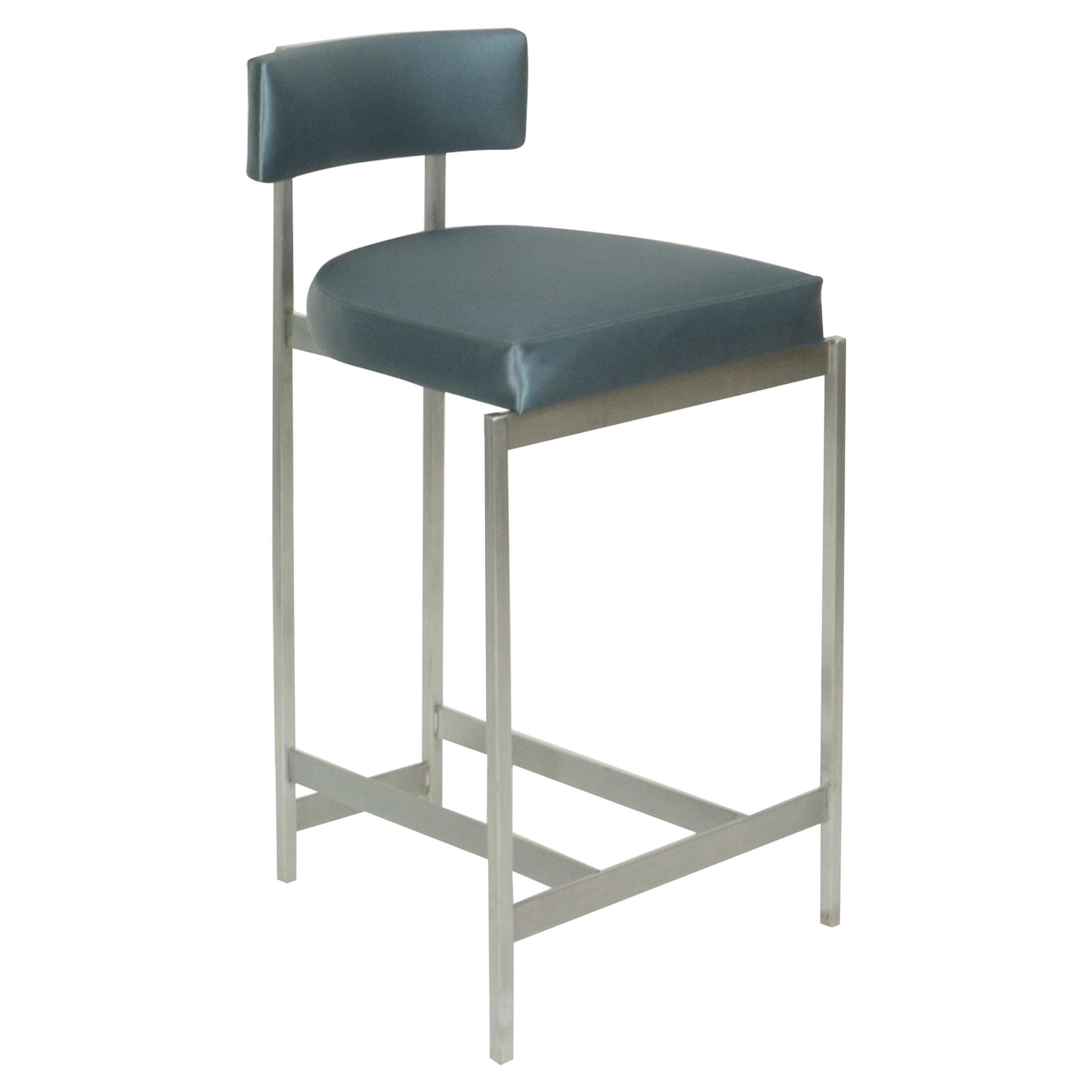 Thin Metal Frame Bar Stool with Metallic Vinyl Seat