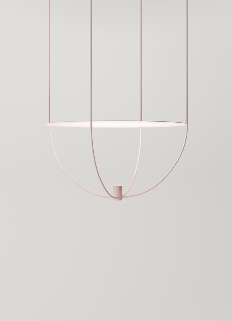 Thin, Metal-Framed Pendant Lamp from