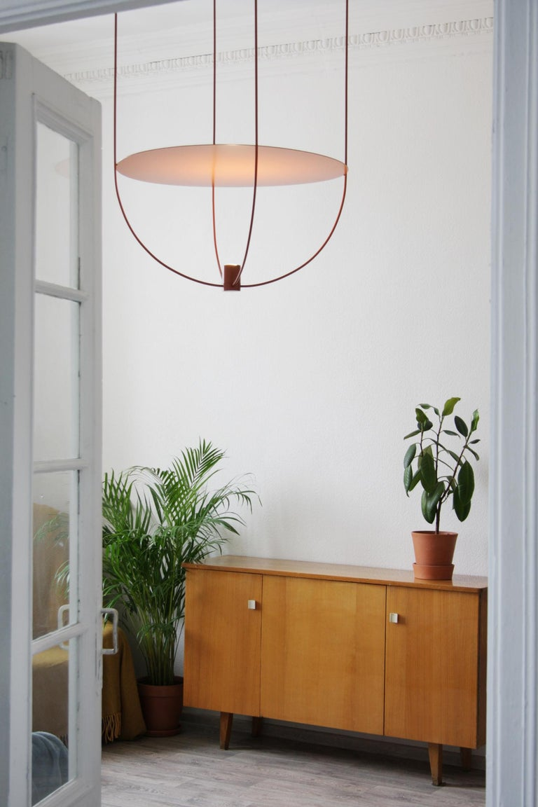 Contemporary Thin, Metal-Framed Pendant Lamp from