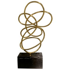 Thin Ribbon Shaped Brass Free Form Sculpture, Indonesia, Contemporary