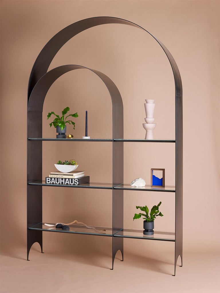Modern Thin Shelf Double in Contemporary Blackened Steel and Clear Glass For Sale