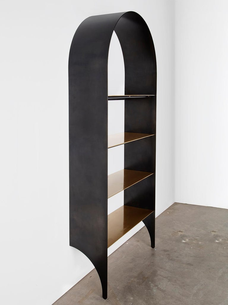 Modern Thin Shelf Single in Contemporary Blackened Steel and Steel Inset Shelves For Sale