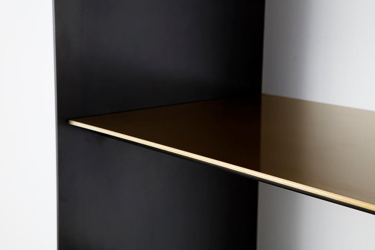 Thin Shelf Single in Contemporary Blackened Steel and Steel Inset Shelves In New Condition For Sale In Brooklyn, NY
