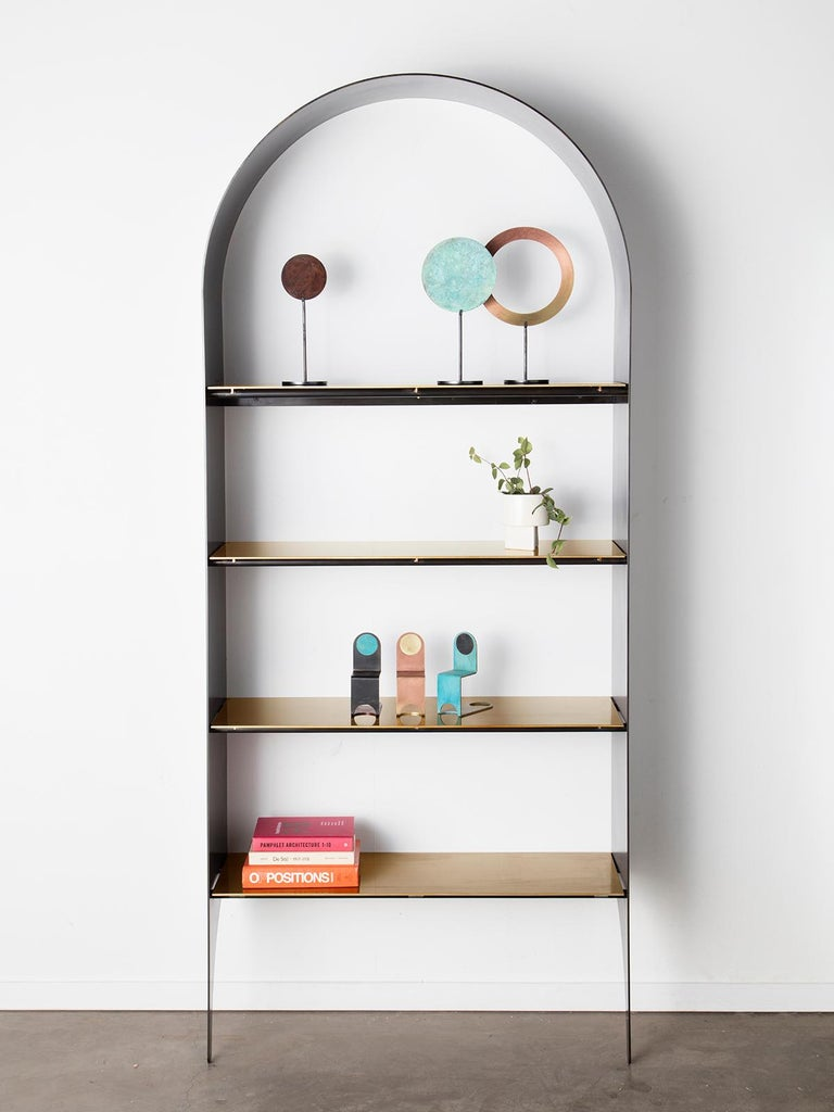 Thin Shelf Single in Contemporary Blackened Steel and Steel Inset Shelves For Sale 1