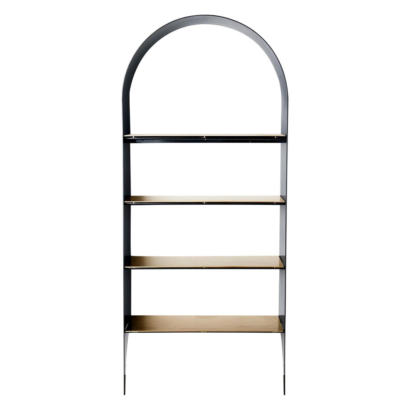 Thin Shelf Single in Contemporary Blackened Steel and Steel Inset Shelves