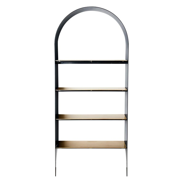 Thin Shelf Single in Contemporary Blackened Steel and Steel Inset Shelves For Sale