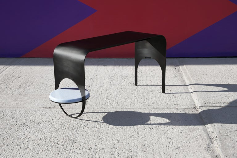 Modern Thin Table 2 in Contemporary Blackened Steel with Blue Marble Shelf For Sale