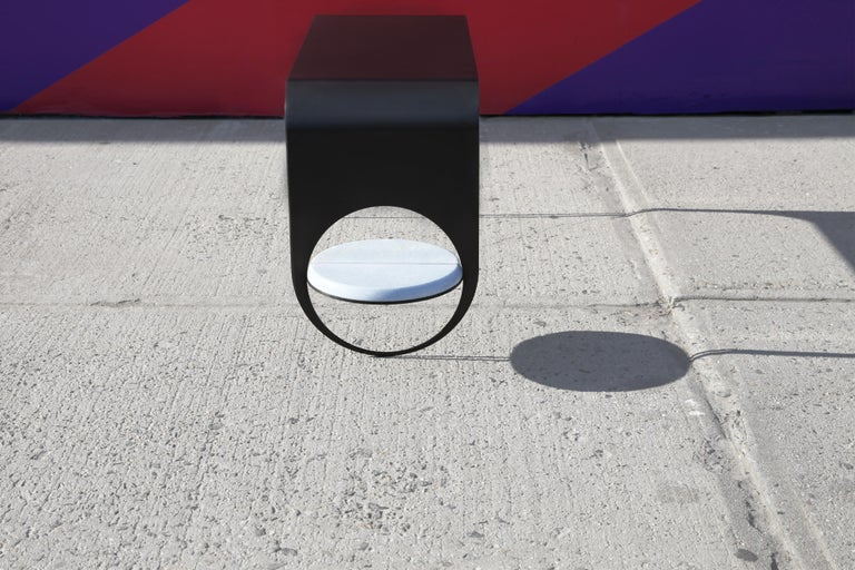 American Thin Table 2 in Contemporary Blackened Steel with Blue Marble Shelf For Sale