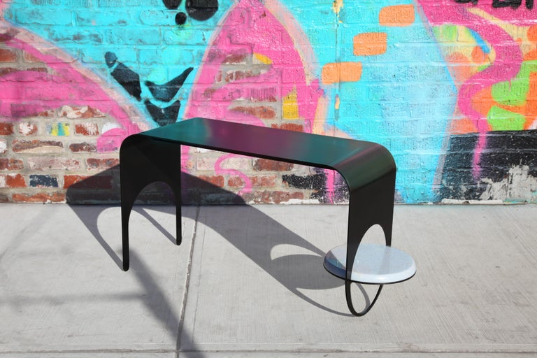 Thin Table 2 in Contemporary Blackened Steel with Blue Marble Shelf In New Condition For Sale In Brooklyn, NY