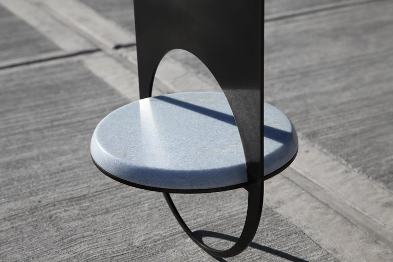 Thin Table 2 in Contemporary Blackened Steel with Blue Marble Shelf For Sale 1