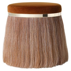 Thing 1 Stool Pouf with Polished Brass and Horsehair