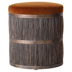 Thing 2 Stool with Antique Brass, Horse Hair and Velvet